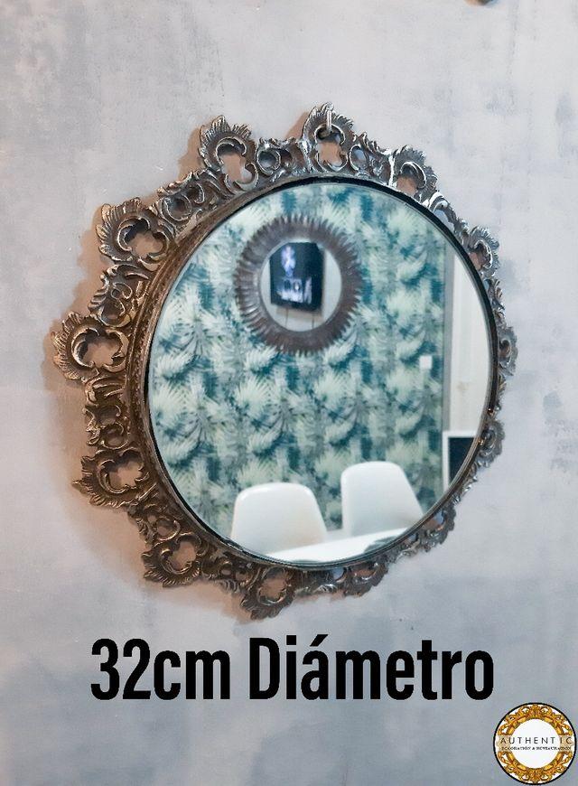 Espejo Barroco Redondo Metalico 32cm Diámetro
