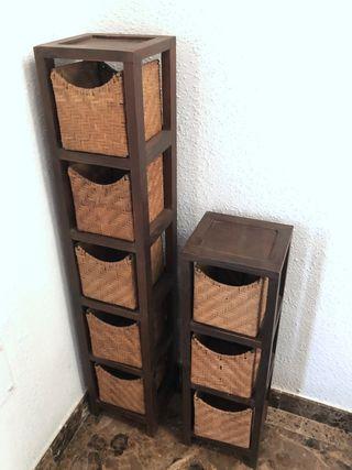 Cajoneras madera con cestas de mimbre