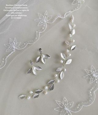 Conjunto Joya : Tiara + Pendientes novia en plata