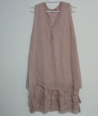 vestido rosa volantes