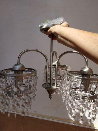 Lámpara nueva de cristal y acero inoxidable