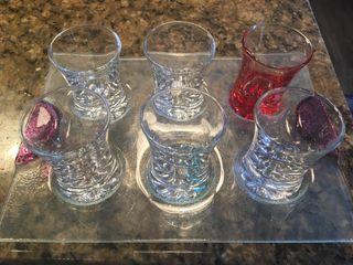 6 vasos chupitos con bandeja cristal