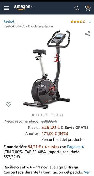 Bicicleta estática reebok one gb40s