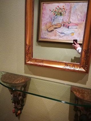 espejo + mesa de cristal