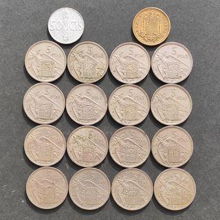 Lote monedas pesetas Franco España 1957 y 1966