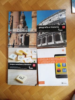 Libros geografía e historia y lengua 1° de la ESO