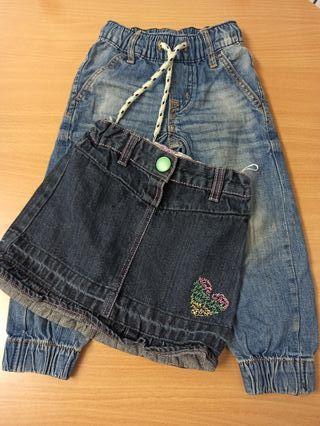falda y pantalón niña