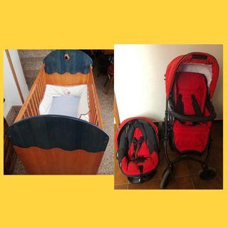 Carro de bebé marca Bebecar y cuna