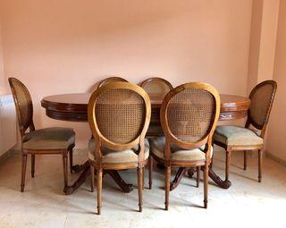 Mesa de salón + 6 sillas Luis XVI