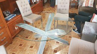 Mesa de cristal con patas de madera 120cm