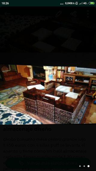 mesa lujo 4 sillas puff almacenaje diseño perfecta