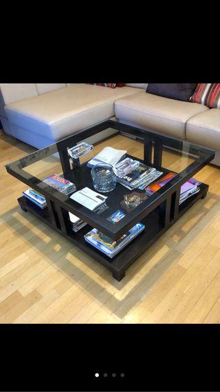 Mesa centro madera y cristal