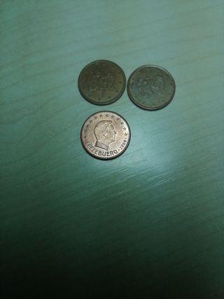 monedas de 5, 2 y 1 centimo