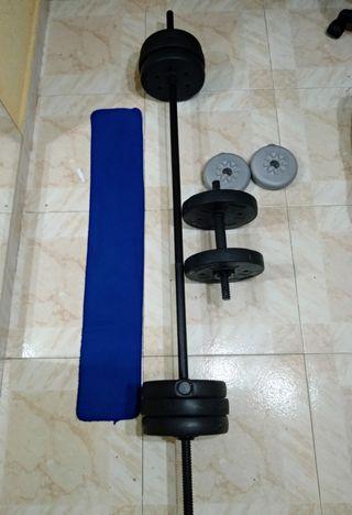 pesas y barra excelente estado