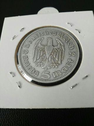 Moneda de 5 marcos nazis de plata