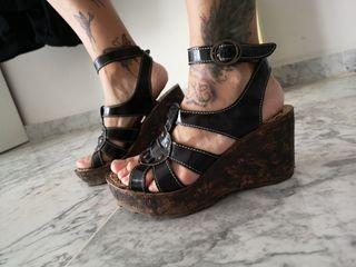plataforma cuña zapatos fly charol negro 37