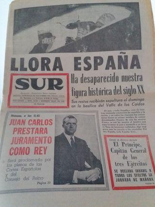 """Periódico """"SUR"""" 21/Nov/1975 Muerte de Franco."""