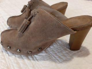 Zapatos Zuecos Marrón Ante Núm 37