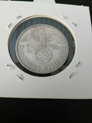 Moneda de 2 marcos nazis de plata