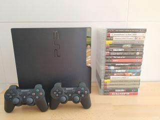 PS3 slim + 2 mandos + 19 juegos