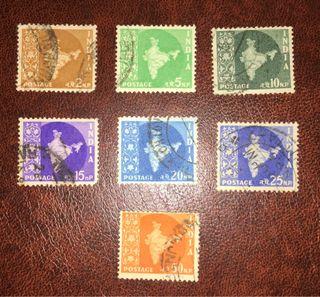 Lote de 7 sellos de la India de 1958!