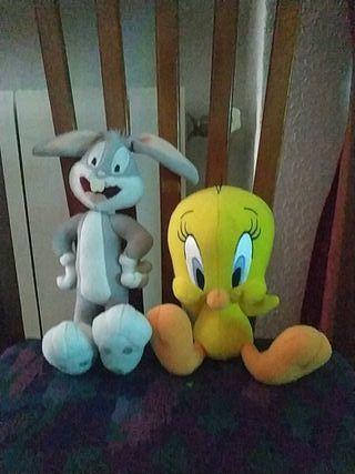 piolín y Bugs Bunny peluches antiguos