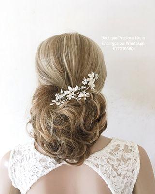 Diadema Joya floral para novia ,invitada a boda