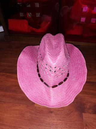 Gorro paja rosa