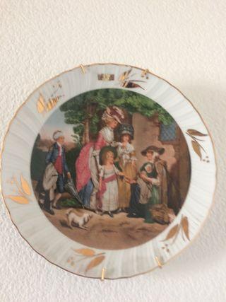 Plato decorativo ribete/hojas oro ley URGE VENDER
