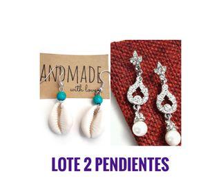 Lote Pendientes cristal y perlas. P. Conchas