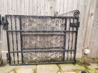PAIR OF STYLISH, TRADITIONAL, SOLID IRON GATES