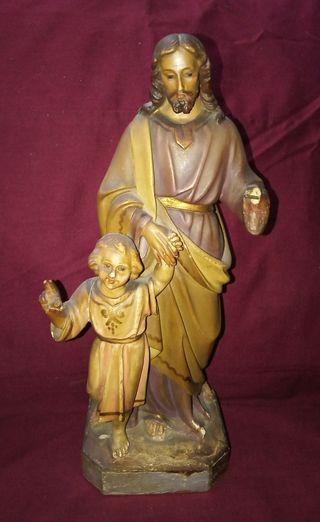 San José y Jesús. Talla de Madera.