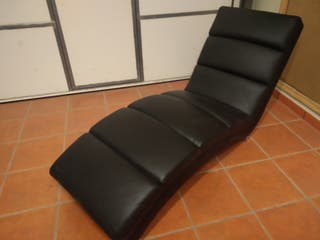 Chaislong polipiel negro