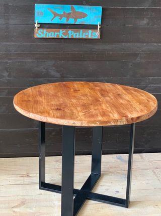 Mesa redonda madera acero industrial
