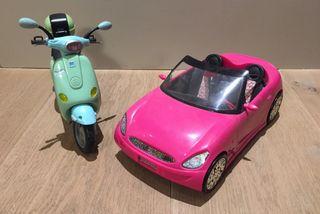 Barbie coche y moto Vespa