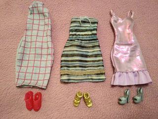 vestidos muñeca Barbie y calzado