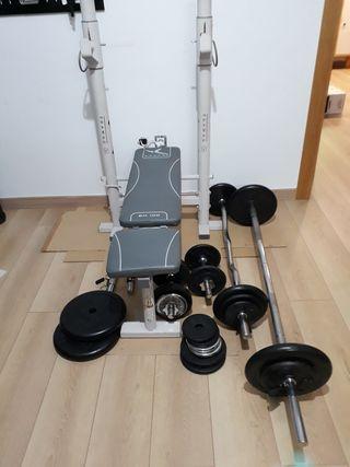 kit Press Banca Musculacion, mancuernas pesa disco