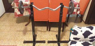 Estante para pesas y barra de musculacion