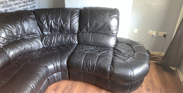 Real black leather corner sofa