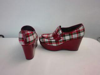 zapatos de piel y tela 37