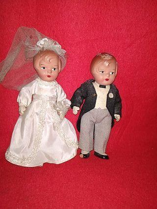 muñecos de barro años 40 novios