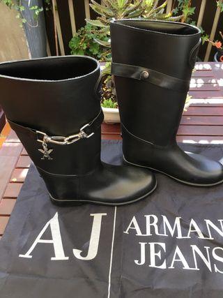 Botas lluvia nieve Armani Jeans negro mate