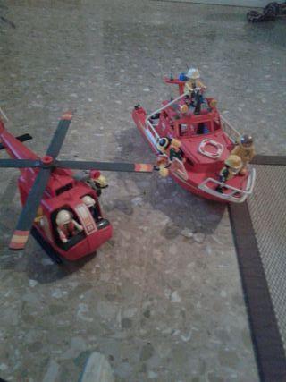 Helicóptero y lancha de rescate playmobil