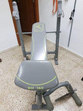 Banco musculacion pesas 5kg, 2 kg, barra...