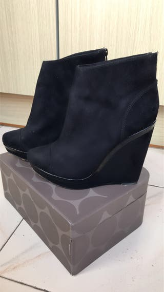 Botines botín negro cuña tacón 36