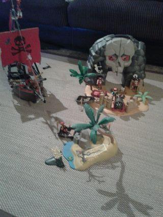 Isla y barco playmobil
