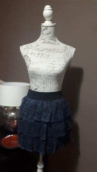 Falda azul de lunares