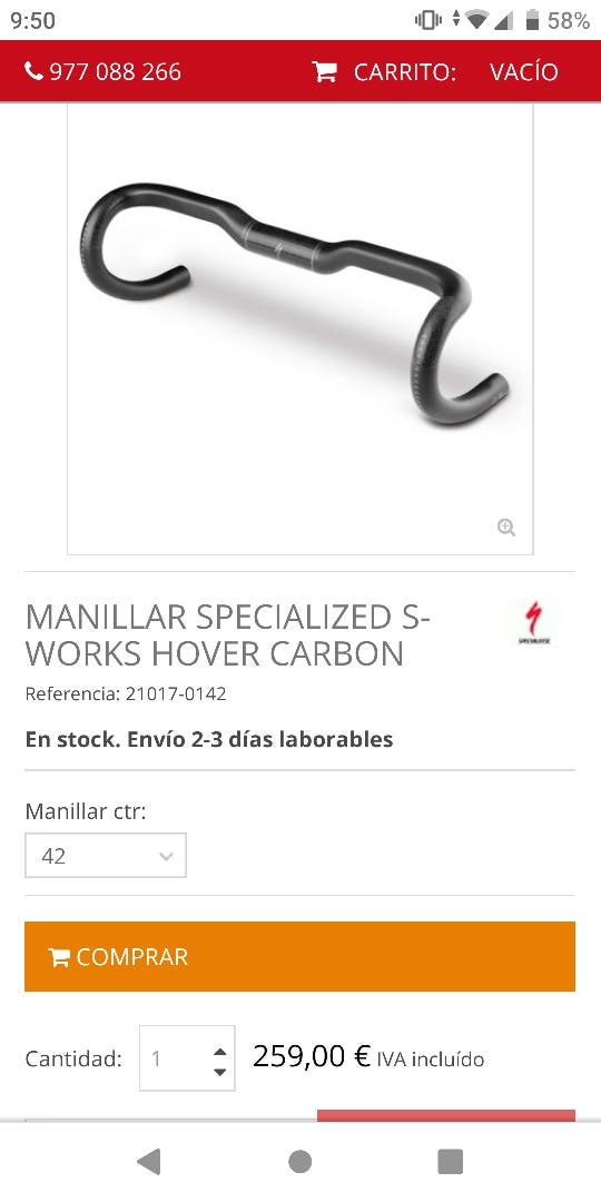 manillar specialized hover carbon