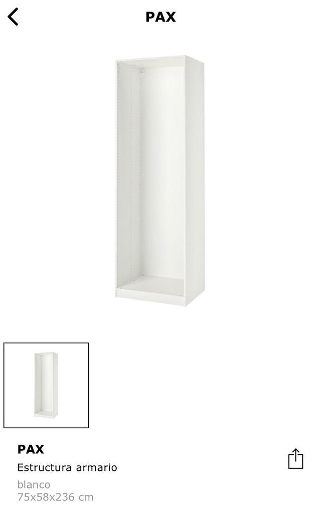 Armario PAX blanco 75x58x236 cm