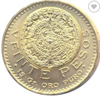 moneda de oro,20 pesos mexicanos